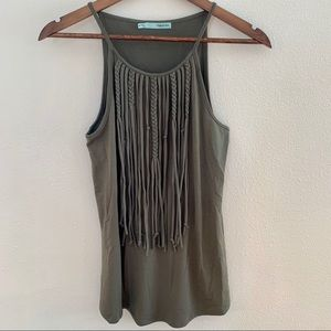 Olive green fringe tank top from Maurices